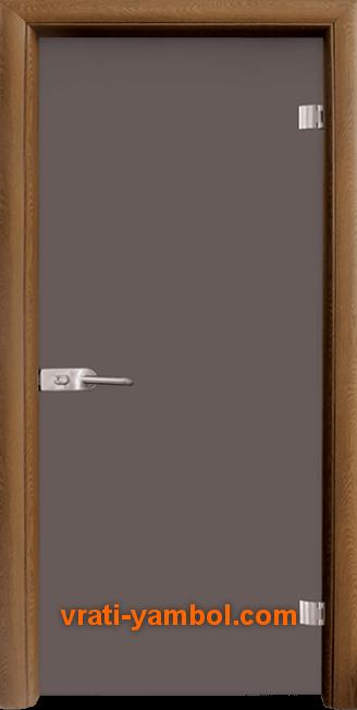 Стъклена интериорна врата модел Basic G 10-1 с каса Златен дъб