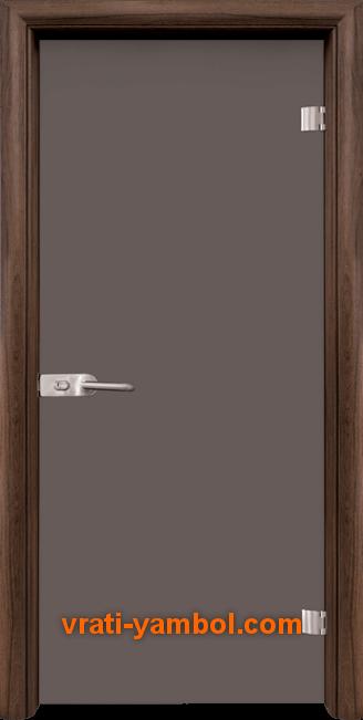 Стъклена интериорна врата модел Basic G 10-1 с каса Орех