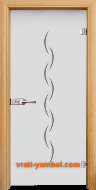Стъклена интериорна врата модел Gravur G 13-1 с каса Светъл дъб