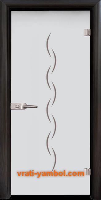 Стъклена интериорна врата модел Gravur G 13-1 с каса Венге
