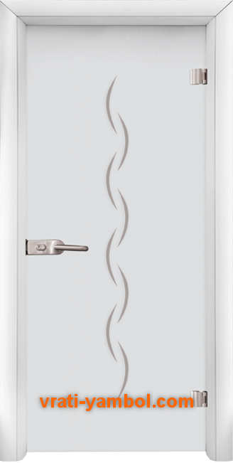 Стъклена интериорна врата модел Gravur G 13-1 с каса Бяла