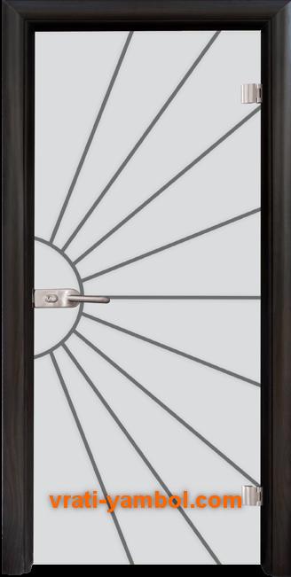 Стъклена интериорна врата модел Gravur G 13-2 с каса Венге