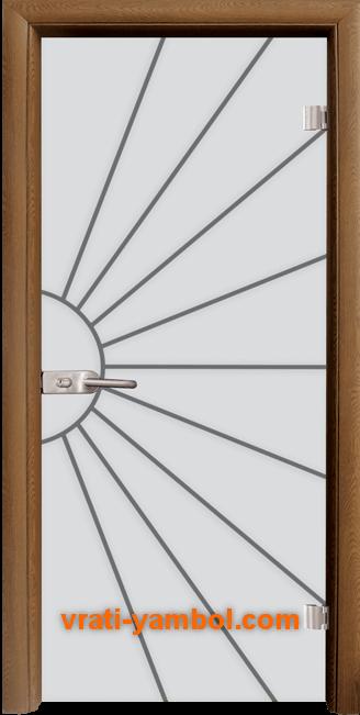 Стъклена интериорна врата модел Gravur G 13-2 с каса Златен дъб