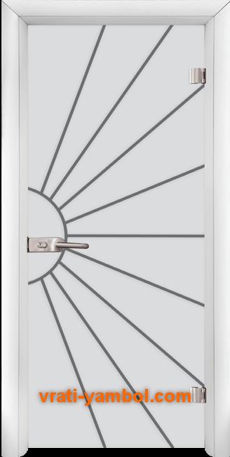 Стъклена интериорна врата модел Gravur G 13-2 с каса Бяла