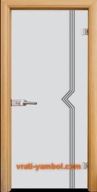 Стъклена интериорна врата модел Gravur G 13-3 с каса Светъл дъб