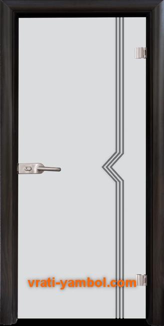 Стъклена интериорна врата модел Gravur G 13-3 с каса Венге