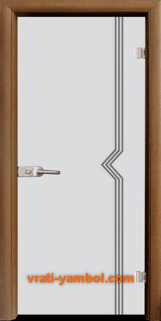 Стъклена интериорна врата модел Gravur G 13-3 с каса Златен дъб