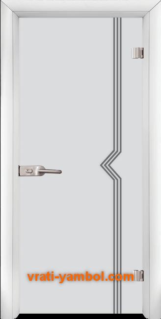 Стъклена интериорна врата модел Gravur G 13-3 с каса Бяла