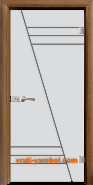 Стъклена интериорна врата модел Gravur G 13-4 с каса Златен дъб