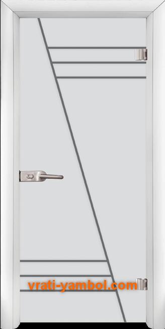 Стъклена интериорна врата модел Gravur G 13-4 с каса Бяла