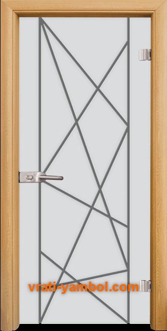 Стъклена интериорна врата модел Gravur G 13-5 с каса Светъл дъб