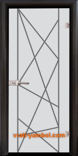 Стъклена интериорна врата модел Gravur G 13-5 с каса Венге