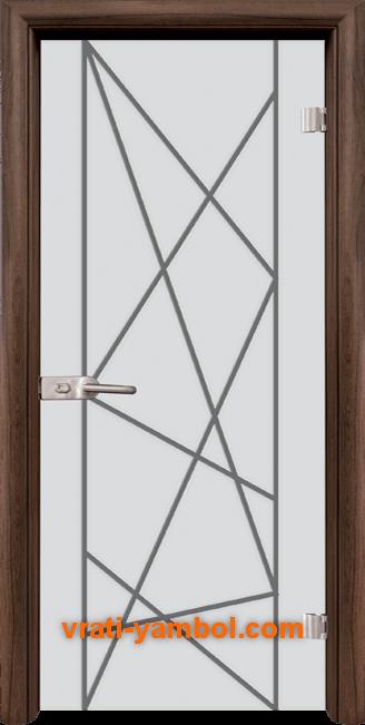 Стъклена интериорна врата модел Gravur G 13-5 с каса Орех