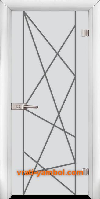 Стъклена интериорна врата модел Gravur G 13-5 с каса Бяла