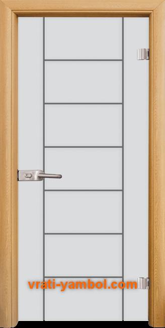 Стъклена интериорна врата модел Gravur G 13-6 с каса Светъл дъб