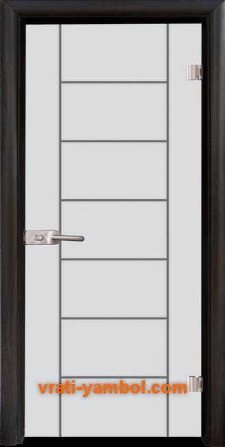 Стъклена интериорна врата модел Gravur G 13-6 с каса Венге