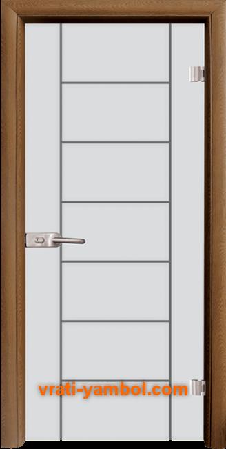 Стъклена интериорна врата модел Gravur G 13-6 с каса Златен дъб