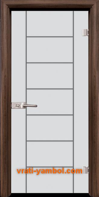 Стъклена интериорна врата модел Gravur G 13-6 с каса Орех