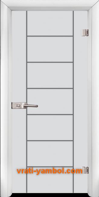 Стъклена интериорна врата модел Gravur G 13-6 с каса Бяла