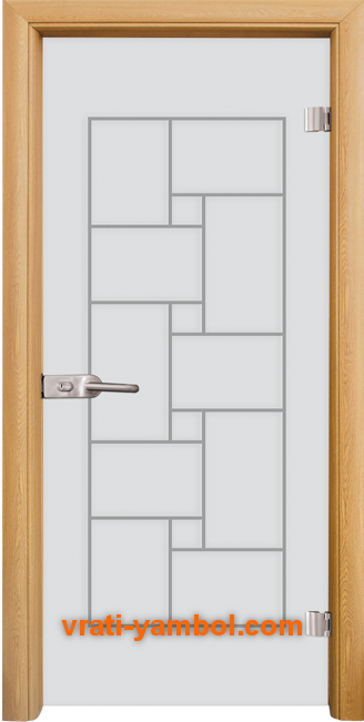 Стъклена интериорна врата модел Gravur G 13-7 с каса Светъл дъб