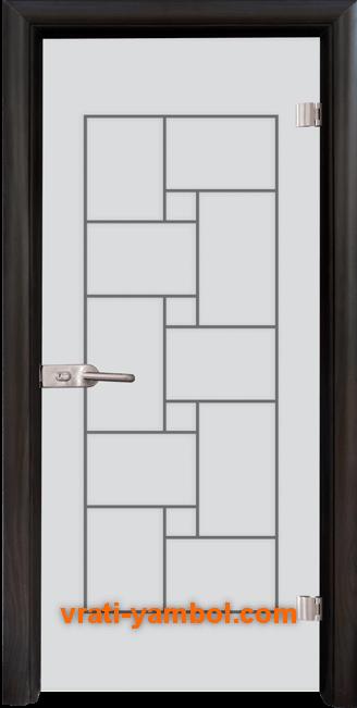 Стъклена интериорна врата модел Gravur G 13-7 с каса Венге