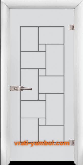 Стъклена интериорна врата модел Gravur G 13-7 с каса Бяла