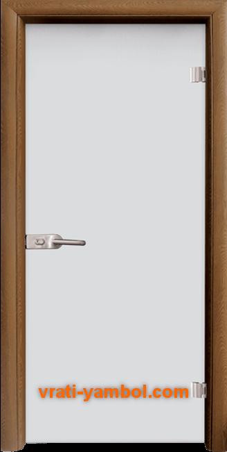 Стъклена интериорна врата модел Matt G 11 с каса Златен дъб