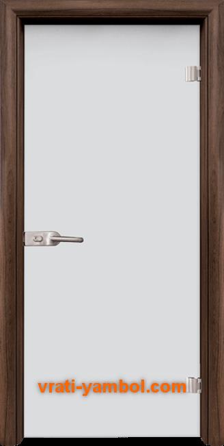 Стъклена интериорна врата модел Matt G 11 с каса Орех