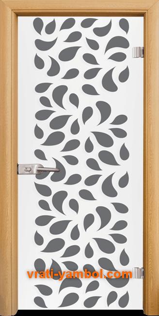 Стъклена интериорна врата модел Print G 13-1 с каса Светъл дъб
