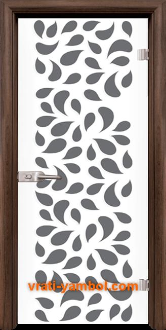 Стъклена интериорна врата модел Print G 13-1 с каса Орех
