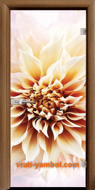 Стъклена интериорна врата модел Print G 13-5 с каса Златен дъб