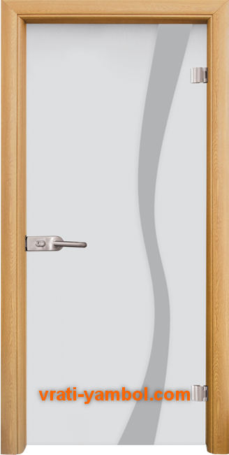 Стъклена интериорна врата модел Sand G 14-1 с каса Светъл дъб