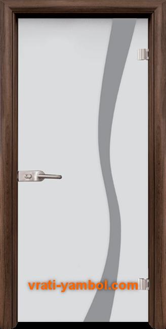 Стъклена интериорна врата модел Sand G 14-1 с каса Орех