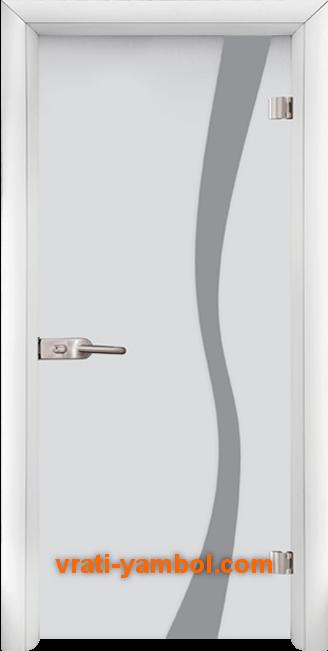 Стъклена интериорна врата модел Sand G 14-1 с каса Бяла