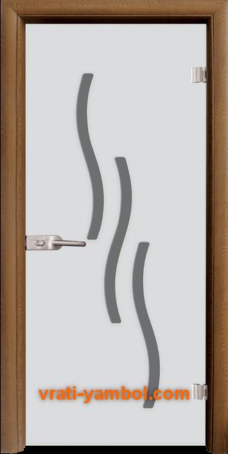 Стъклена интериорна врата модел Sand G 14-2 с каса Златен дъб