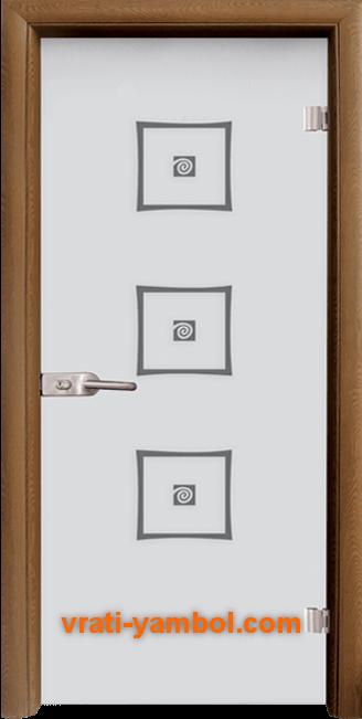 Стъклена интериорна врата модел Sand G 14-3 с каса Златен дъб