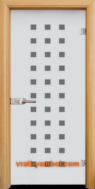 Стъклена интериорна врата модел Sand G 14-4 с каса Светъл дъб