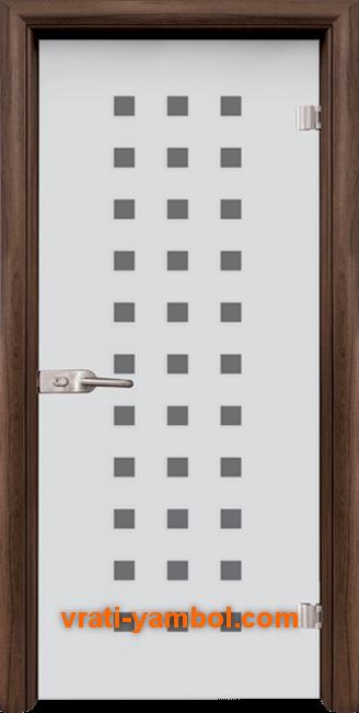 Стъклена интериорна врата модел Sand G 14-4 с каса Орех