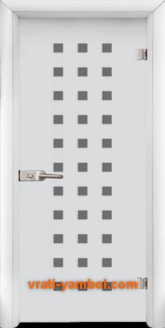 Стъклена интериорна врата модел Sand G 14-4 с каса Бяла