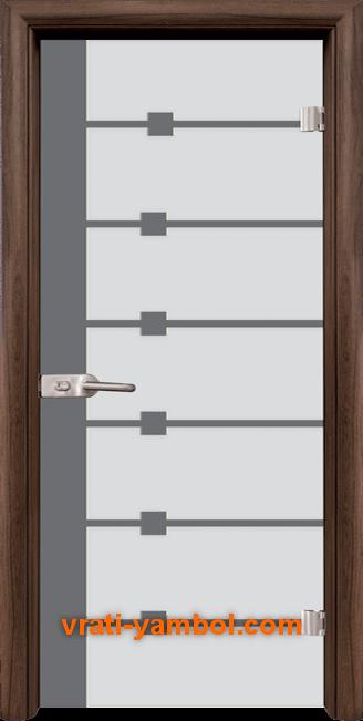 Стъклена интериорна врата модел Sand G 14-5 с каса Орех