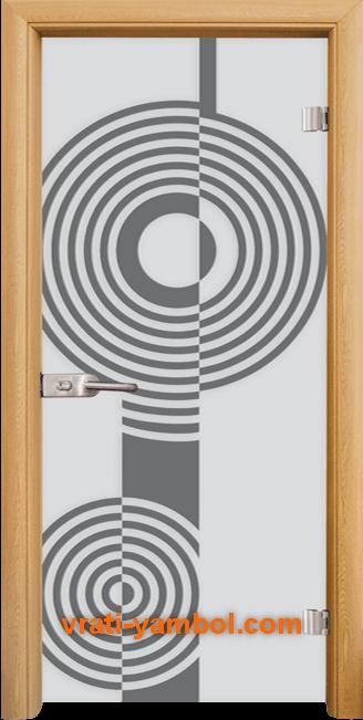 Стъклена интериорна врата модел Sand G 14-6 с каса Светъл дъб