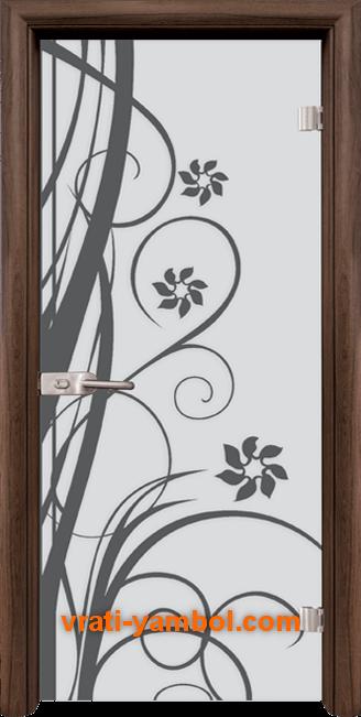 Стъклена интериорна врата модел Sand G 14-7 с каса Орех