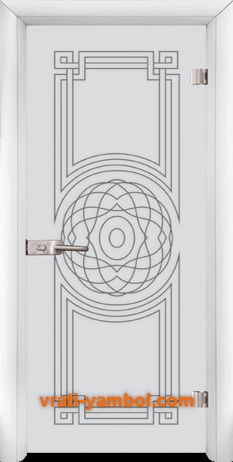 Стъклена интериорна врата модел Sand G 14-8 с каса Бяла