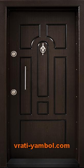 Блиндирана входна врата, модел Т108 Тъмен орех