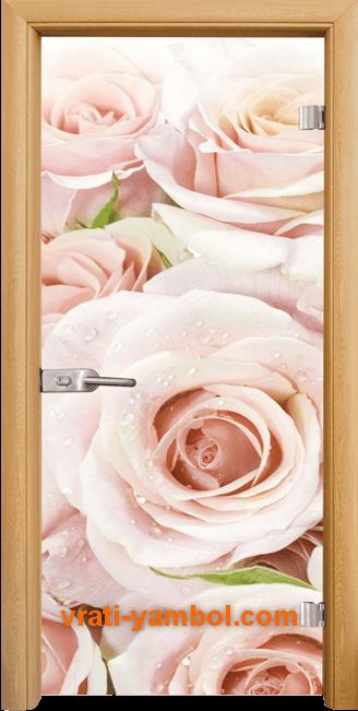 Стъклена интериорна врата модел Print G 13-7 с каса Светъл дъб