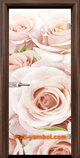 Стъклена интериорна врата модел Print G 13-7 с каса Орех
