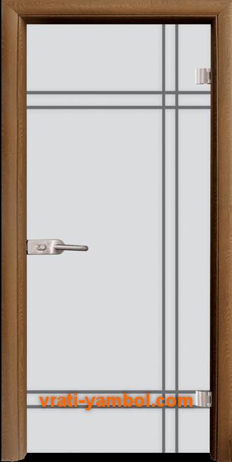 Стъклена интериорна врата модел Gravur G 13-8 с каса Златен дъб