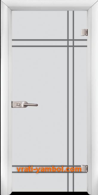 Стъклена интериорна врата модел Gravur G 13-8 с каса Бяла