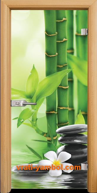 Стъклена интериорна врата модел Print G 13-9 с каса Светъл дъб