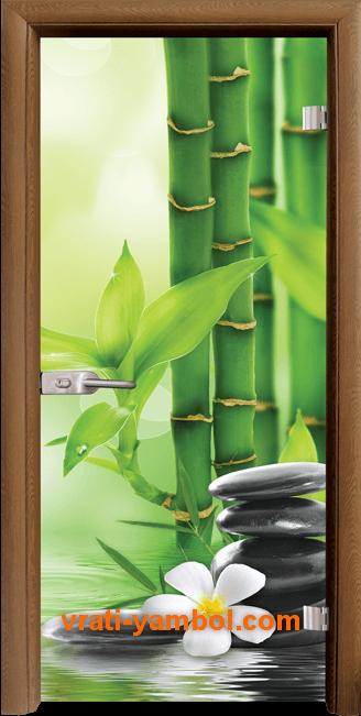 Стъклена интериорна врата модел Print G 13-9 с каса Златен дъб